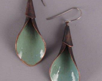 Calla lily earrings, green enamel earrings, copper flower earrings, rustic copper earrings, green enamel calla lily earrings, gift for her