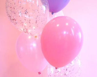 Pink and Purple Balloon Bouquet | Pink and Purple Balloons with Pink Confetti Balloons | Set of 6 Balloons