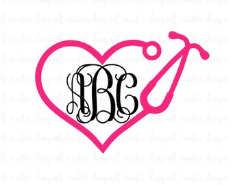 Heart Monogram Stethoscope SVG, Stethoscope SVG, Heart Stethoscope SVG, Nurse Svg, Pharmacist Svg