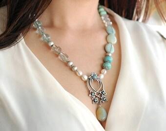 Boho Necklace, Gypsy Necklace, Pearl Necklace, Hand Knotted Necklace, Pendant Necklace, Boho Jewelry, Beach Necklace, Yoga Necklace N1378
