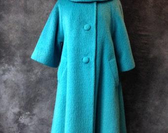 50's Turquoise blue mohair Lilli Ann coat.