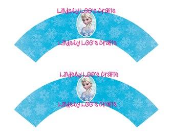 Elsa Cupcake Wrappers, Cupcake Wrappers, Elsa Party, Elsa Printables