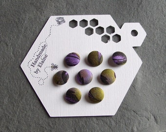 Fabric Covered Buttons - 8 x 12mm Buttons, Handmade Button, Muted Purple Green Damson Mulberry Dark Lilac Olive Moss Fern Green Buttons 2359