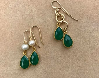 Green Onyx and Gold Earrings