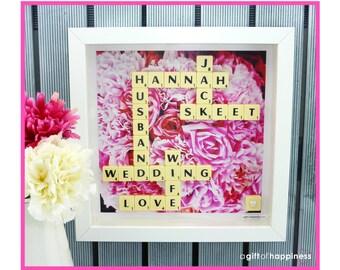 Wedding gift Scrabble picture scrabble frame scrabble art scrabble wall art personalised scrabble picture frame gift idea Wedding gift