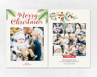 Digital Photoshop Christmas Card Template for photographers PSD Flat card - Christmas Card - PSD Template - 019