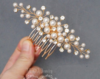 Gold Bridal Hair Comb, Wedding Hair Accessories, Available in Silver and Gold, White and Ivory Swarovski Pearls, Head Piece