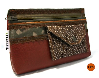 Brown Snakeskin, Handmade Personalized Waist Bag, Vegan Friendly, Vegan Leather, Hip Bag, Leather Waist Bag, Festival Bag UNUSUAL Mutant