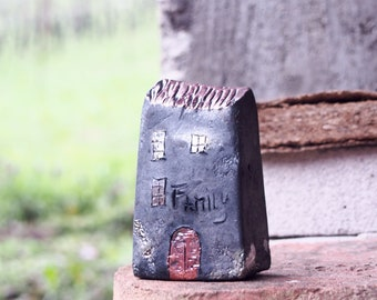 FAMILY Handmade Black Raku pottry  fired Ceramic houses with  copper glazes, Hand sculpted and raku or earthenware fired