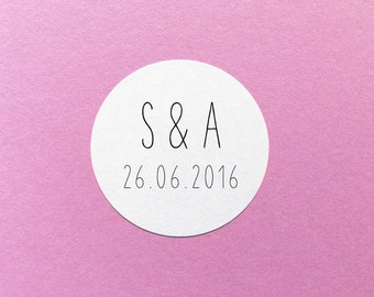 Initials Wedding Label, Save The Date Sticker, Wedding Date Stickers, Wedding Initial Sticker, Save Our Date Labels, Custom Wedding Labels