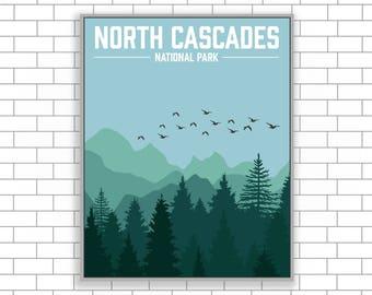 North Cascades, National Park, Washington, North Cascades Print, National Park Canvas, Visit North Cascades,Modern Illustration,Illustration