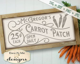 Easter SVG - McGregors Carrot Patch svg - Easter Cutting File - spring svg - bunny svg - Carrot svg - Commercial Use svg, dxf, png, jpg