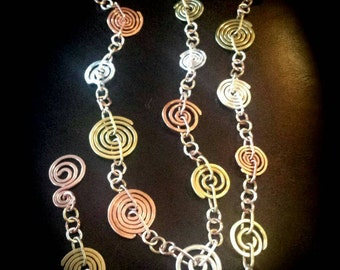 Inspirals Signature Handcrafted Copper, Silver and Brass Necklace
