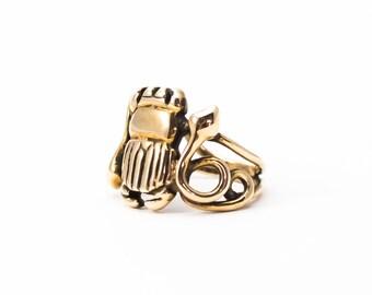 Bronze Scarab Ring, Scarab Snake Ring, Gold Beetle Ring, Gold Snake Ring, Bronze Scarab Ring, Modern Scarab Ring, Double Snake Ring