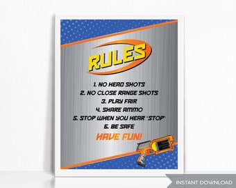 Dart Gun Rules Party Sign - Printable - Instant Download