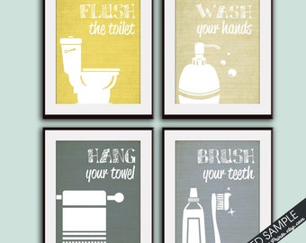 Funny Bathroom Prints - Set of 4 - Art Print (Featured in Brushed Steel L, Q, W and Y) Customizable Bathroom Prints