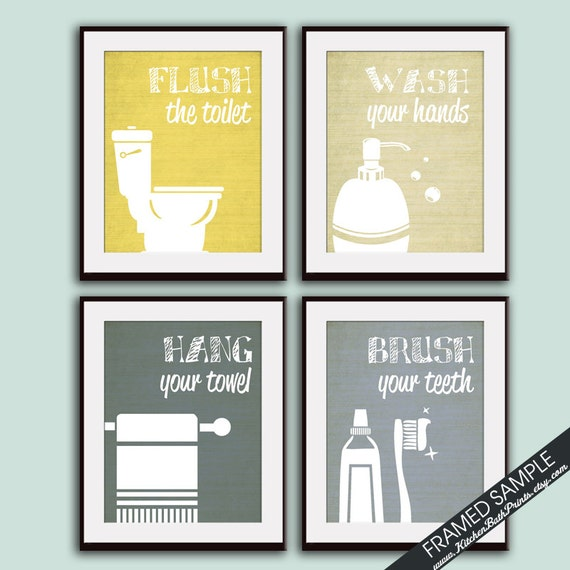 High Quality Funny Bathroom Prints Set Of 4 Art Print Featured In