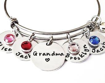 Personalized Grandma Bracelet - Grandma Bracelet, Grandchildren Bracelet, Grandma Gift, Grandma Jewelry, Nana Jewelry, Nana Bracelet