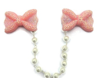 Pink Sweater Clip - Iridescent Bow and White Pearls - Retro Rockabilly Pinup, 50s Style - Cardigan Clip - Sweater Guard - Sweater Clasp