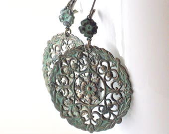 Patina Filigree Earrings - Large Earrings, Verdigris Earrings, Medallion, Lightweight Earrings