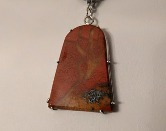 Natural Stone Jewelry: Red Jasper with yellow and black matrix pendant prong set in Sterling silver