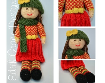 Doll Knitting Pattern - Autumn Doll - Knit Doll - Toy Knitting Pattern - Rag Doll - Doll Making - Beret - Skirt - Dolls Clothes - Yarn Doll
