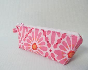 Zipper Pouch/Pen Case/Pink Flower