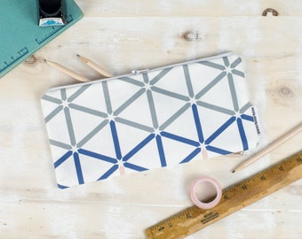 Kenza Pencil Case, bag with blue, pink and grey hexagon geometric pattern design on a white background, school pouch