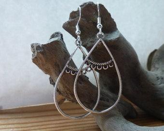 Pretty Large Silver Oval drop earrings, Silver earrings
