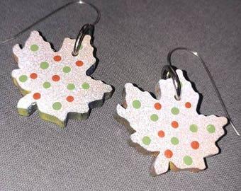 Wood Maple Leaf Earrings