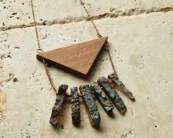 Raw Agate &  Mahogany Wood Geometric long layering necklace raw mineral statement boho chic bohemian yoga healing crystal