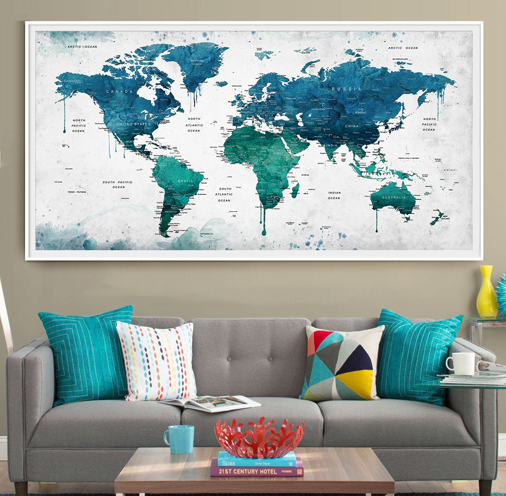 Extra large watercolor push pin map poster print world map zoom gumiabroncs Images