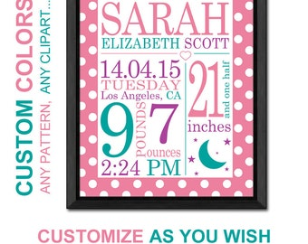 View baby stats prints single by pinkeehome on etsy personalized baby girl gift moon and stars baby gift birth stats wall art negle Image collections