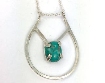 SALE Geometric Silver Necklace - Turquoise Necklace - Layering Necklace - Boho Necklace - Gemstone Necklace -Everyday Blue Stone Jewelry -