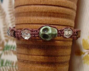 Skull apple green macrame skeleton bracelet anklet on brown hemp