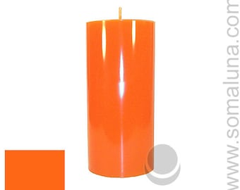 3 x 6.5 Orange Classic Hand-poured Unscented Pillar Candles Solid Color