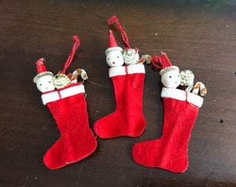 Vintage Felt Stocking Ornaments