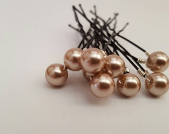Pearl bobby pins - Wedding hair pins - Dark champagne pearl hair pins - Pearl hair pins - Wedding pearl hair pins - Wedding pearls