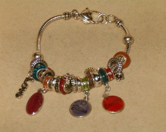 """Vintage Silver Tone Pandora Style 8"""" Bracelet With Slide Beads And Enameled Charms: Serenity,Love,Bliss,Energy"""