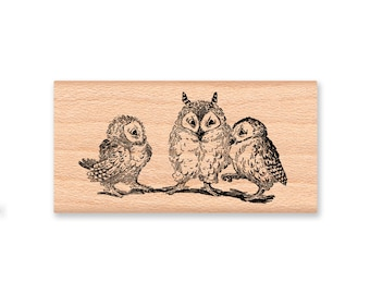OWL Rubber Stamp~Owl Trio~Owls on branch~Mom and baby owls~wood mounted rubber stamp by Mountainside Crafts (20-27)