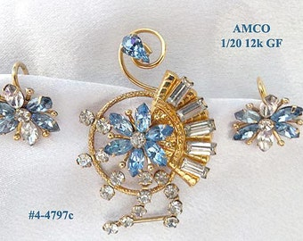 FREE Ship AMCO 1/20 12K GF Brooch And Earrings Marked Set (4-4797)