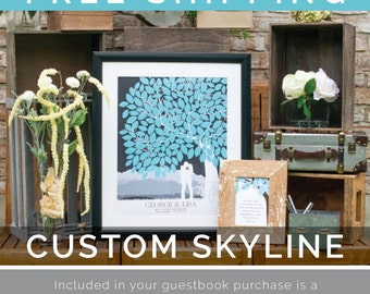 Wedding Tree,Personalized Skyline & Silhouette Wedding Tree Guestbook Print, 100+ Signature Guestbook // Choose Size + Type // W-T05-1PS HH3