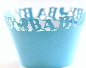 50x Blue Baby Carriage Cupcake Wrapper for Baby Boy Cake Tree Decoration | Reception Centerpiece | It's A Boy Baby Shower Cake Decoration
