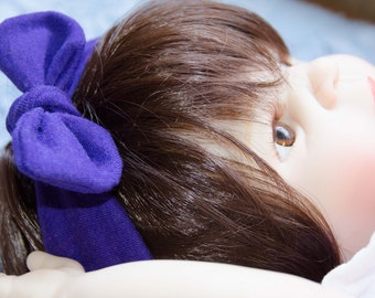 Preemie to Newborn Dolly BowHair Tie Hair Wrap Knotted Headband Baby Dolly Bow Purple Cotton Jersey