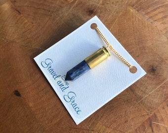 Bullet Necklace-Lapis Lazuli-Long Gold Chain