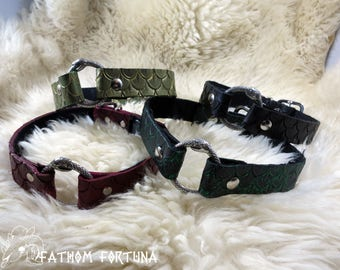 DISCOUNTED First Run Mermaid Scale Leather Collars Ouroboros Snake Rings
