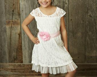 Flower girl dress, rustic flower girl dress, country flower girl, Off White lace dress, easter dress, shabby chic flower girl, Baby dress