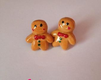 Earrings gingerbread snowman