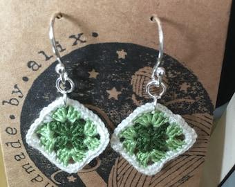 Granny Square Crochet Earrings
