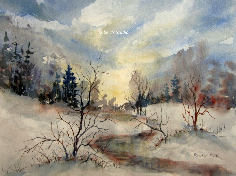 Invierno paisaje imprimir archivos acuarela arte acuarela